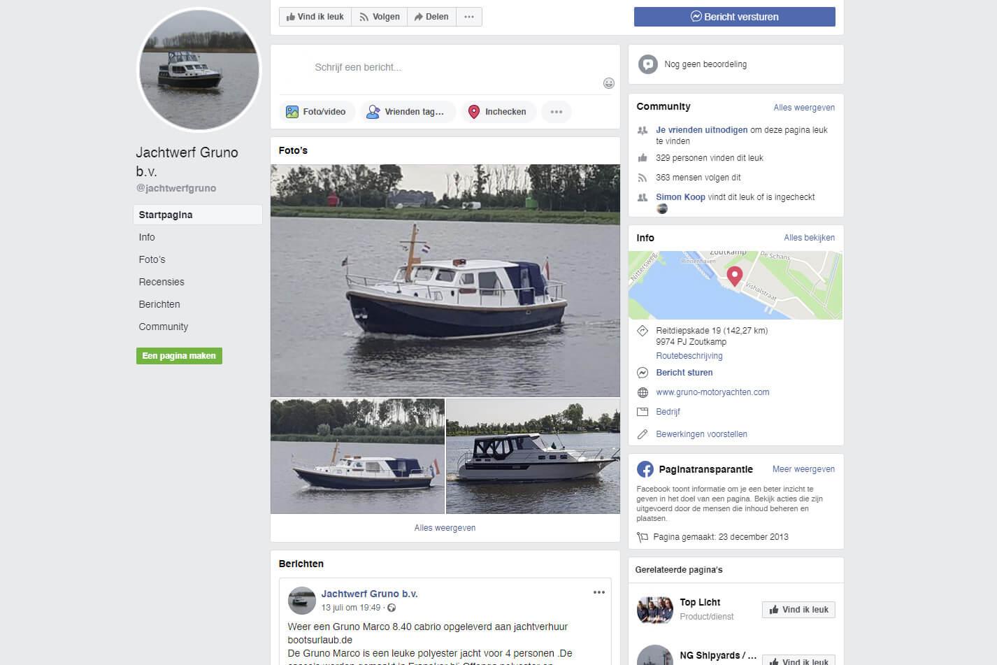 Bekijk de Facebook pagina van Gruno Motoryachten